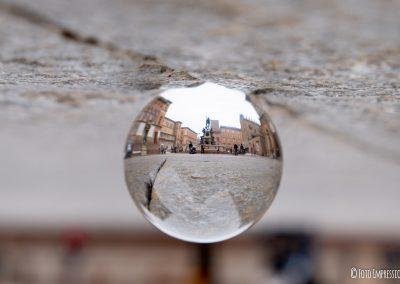 Bologna in una bolla . Statua Nettuno . Piazza centro storico